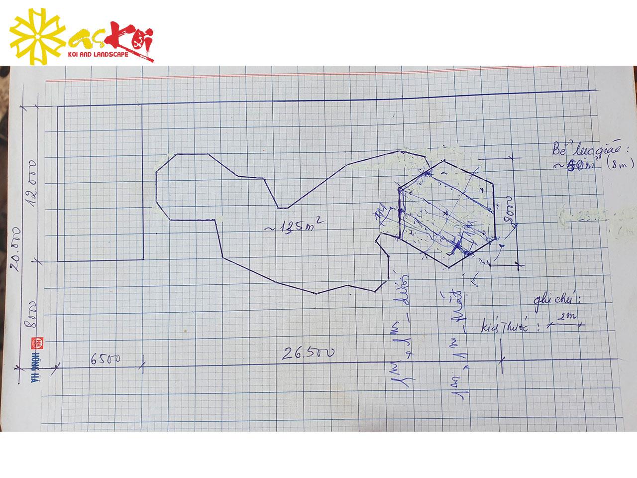 Bản Vẽ Phác Thảo Hồ Koi 280m3