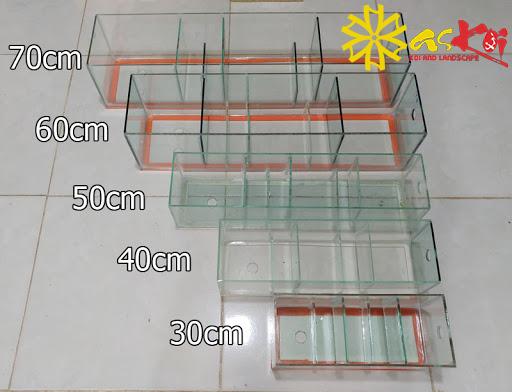 Lọc tràn trên bằng kính có nhiều kích thước khác nhau