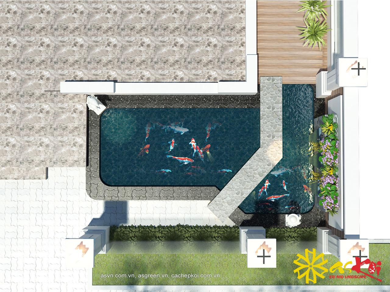 Bản Vẽ 3D Hồ Koi 15m3 Khu Đô Thị Việt Hưng Long Biên Hà Nội